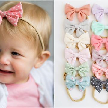 Kit de 12 laços infantil para bebe recem nascido na Faixinha