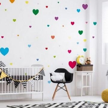 Adesivo Decorativo Corações Coloridos - Frete Grátis