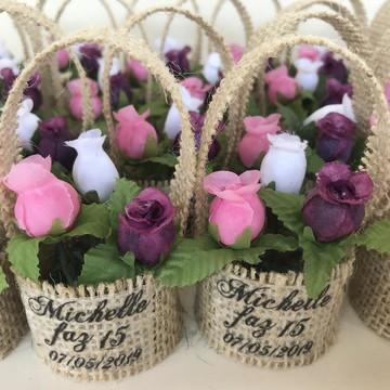 Lembrancinha Casamento Rústico Mini Cestinho com 3 Flor
