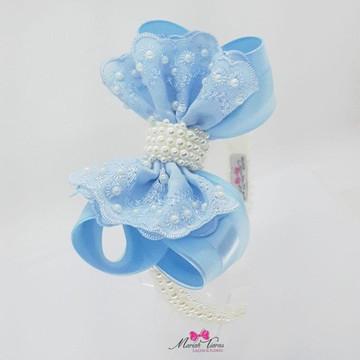 headband pérola laço sonho azul