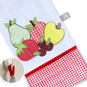 Pano de prato bordado patchwork Frutas - 1 un.