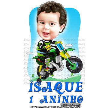 Caricatura festa lindo bebê motinha criança motocross