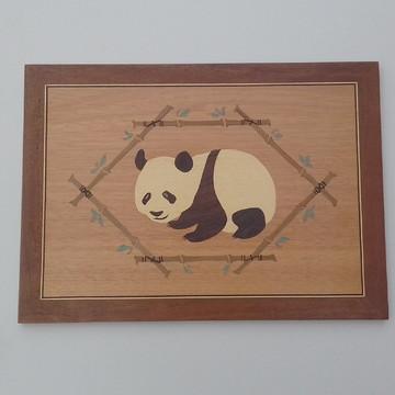 """Panda"" - Quadro em Marchetaria"