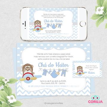 Convite Chá de Fraldas com cartão - Tema Urso Aviador