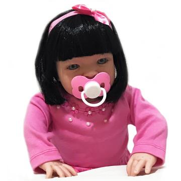 Boneca Tipo Reborn Barata Com Kit Completo Rosa