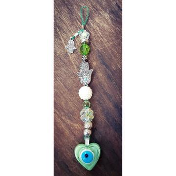 Pingente Hamsa Relevo e Coração Verde Neo Mint de Murano