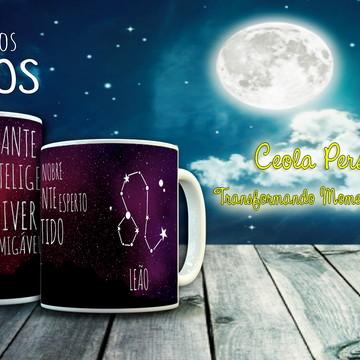 """Caneca de Porcelana Signos """"Leão"""""""