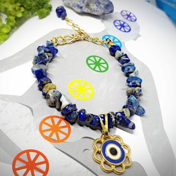 Pulseira de cristal de Lápis Lazuli com Olho Grego
