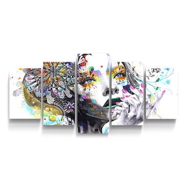 Conjunto 5 Quadros Pintura Abstrato Menina Sala Qui081