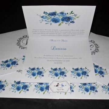 Convite Floral - Azul Royal