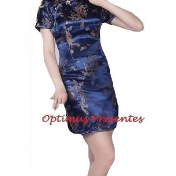 2fd5a09f9f Vestido Curto Com Estampa De Dragão E Fênix - Azul 40