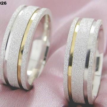 Aliança em Prata Legitima com ouro - Namoro - Compromisso