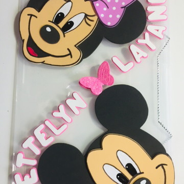 Pasta de elástico personalizada Mickey e Minnie
