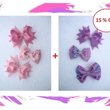 Combo 005 - 6 Bicos de Pato Modelos Diversos - Rosa e Lilás