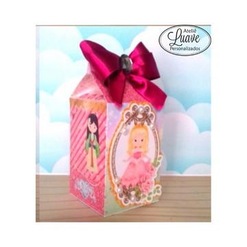 caixa milk do kit festa infantil Princesa Cute