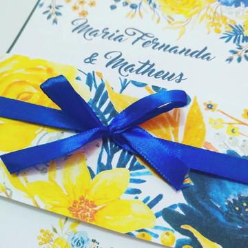 Convite Floral Azul e Amarelo Casamento