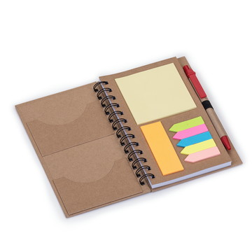 Bloco de anotações ecológico com caneta e post-it.12330