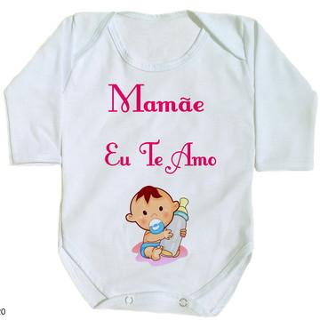 body para bebê mamãe eu te amo