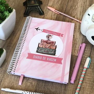 Diário de viagem mármore rosa pronta entrega