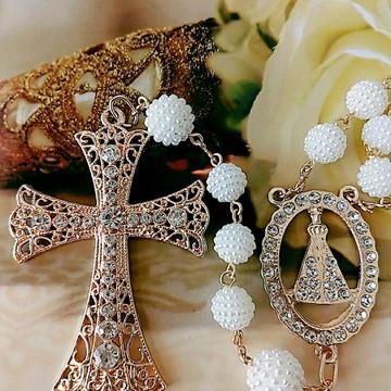 Terço para noiva, primeira comunhão em dourado