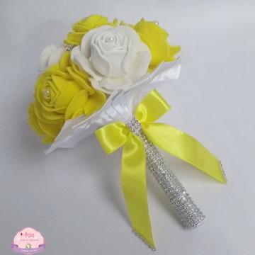 Buquê para Madrinhas - Amarelo e branco com Strass