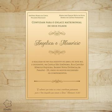 Arte Digital Convite de Casamento Laranja