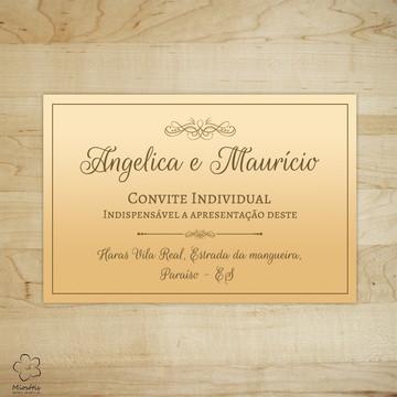Arte Digital Convite Individual para Casamento Laranja