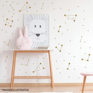 Adesivo de parede constelação - estrelinhas dourado
