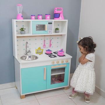 Mini Cozinha Infantil Microondas Turquesa – FRETE GRÁTIS SP