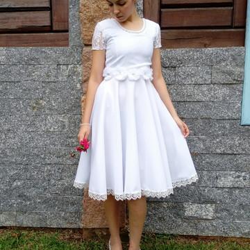 Vestido de Noiva Midi Godê Duplo Casamento Civil Cartório