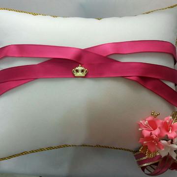 Almofada para sapato 15 anos branca com pink