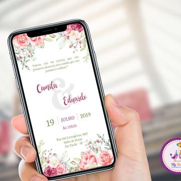Convite Digital Casamento - Coral