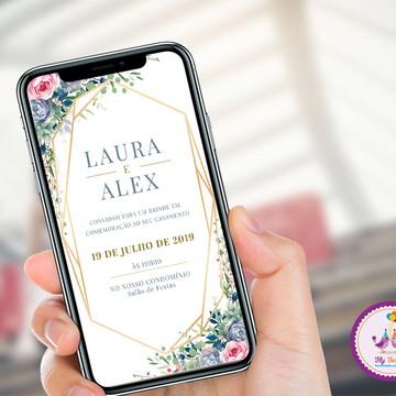 Convite Digital Casamento - Suculentas