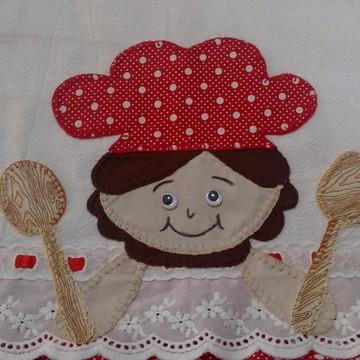 Pano de prato bordado em patchwork