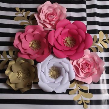 Kit com 7 Flores Gigante Papel de 30 cm e 15 cm+ brinde