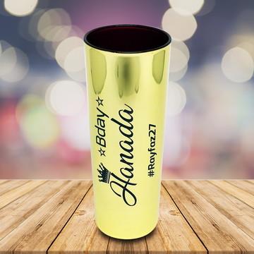 Long Drink Metalizado Dourado Personalizado Bday Aniversário