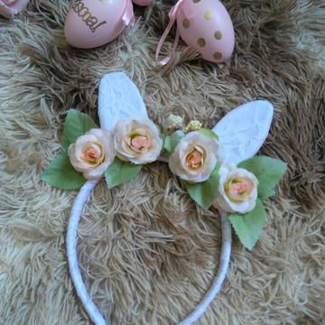 Tiara Orelhinhas de Coelho com Flores
