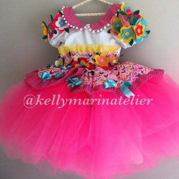 Vestido caipira Tule Rosa
