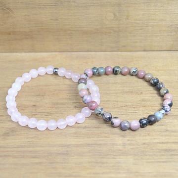 Mix de Pulseiras Rodonita e quartzo rosa