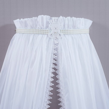 Véu em voil avulso branco com detalhes guippir 6m x 2,80m