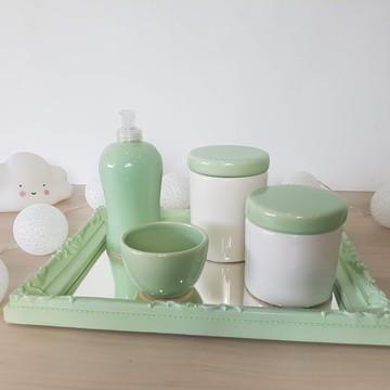 Kit Higiene Bebe Chevron Verde Malva
