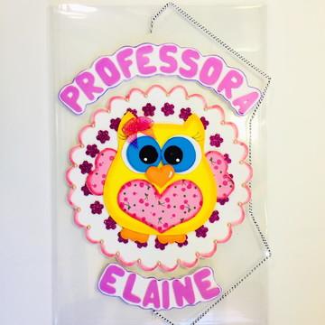 Pasta de elástico personalizada coruja