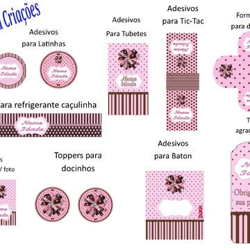Kit Arte Digital Marrom e rosa