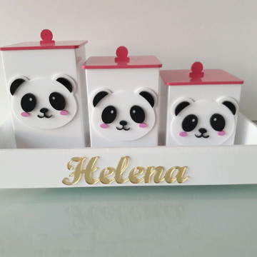 kit bandeja Bebê MDF c/ 3 Potes Tema Panda