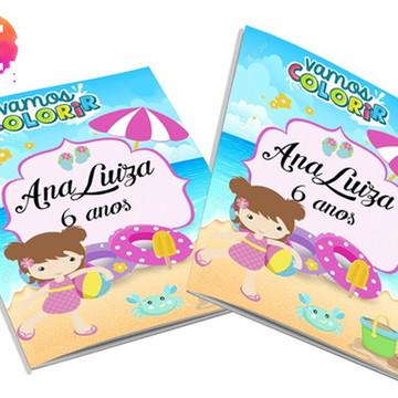 Livro para colorir Praia Rosa