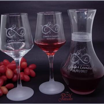 Decanter+2 taças para vinho personalizados