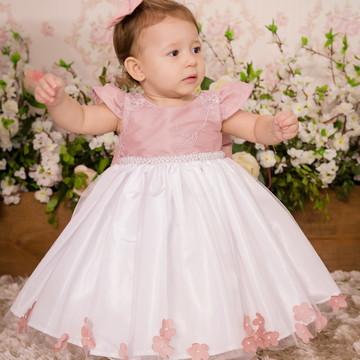 2b3622dde Vestido Rose e Branco - INFANTIL
