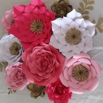 10 Flores Gigante De Papel 30 c m 25 cm 20 cm 15 cm e folhas