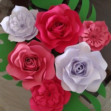 6 Flores Gigante De Papel 20cm E 24cm Decoraçaofesta