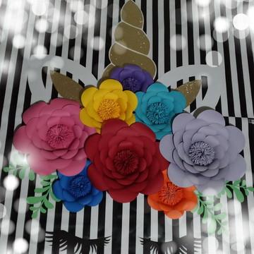Painel Unicórnio completo 8 Flores vc escolhe cores e modelo